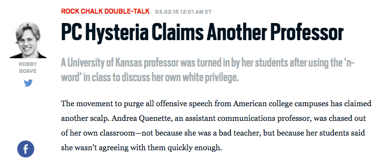 A screenshot from The daily Beast of one of Soave's more provocative articles.