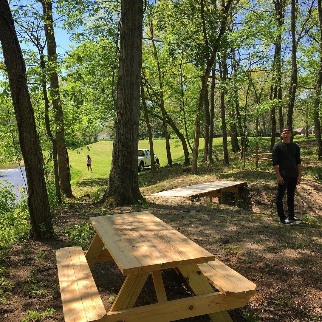 A couple new tables at The Camp for reflection and personal study near the creek. #VoiceMinistriesCamp #VoiceMinistries