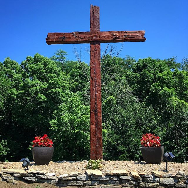 Gave the cross a new coat of stain today. Spar varnish is next. #voiceministries #voiceministriescamp #thecross #oldruggedcross
