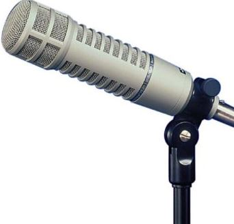 long, silver RE-20 microphone on a mic stand