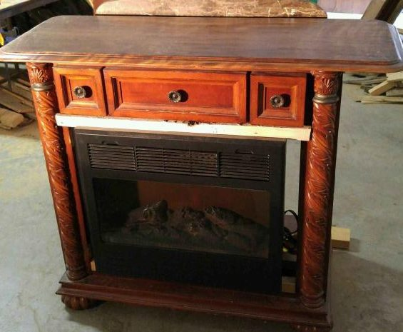 vanity with hole cut out for electric fireplace