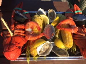 The Young's Lobster Pound special - two lobsters, two cobs of corn, shrimp, oysters and mussels all piled high in a pan