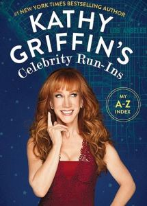 Book cover. Shows Kathy Griffin in a red dress on a blue cover