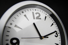 artsy shot of half a wall clock