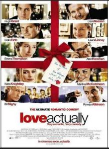 Love Actually DVD cover with photos of its biggest stars including Alan Rickman, Colin Firth, Kiera Knightly and Hugh Grant