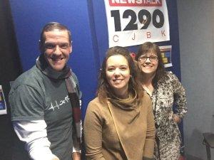 Ken, Jillian and me posing in our studio beneath a News/Talk 1290 CJBK sign. Jillian looks healthy and radiant.