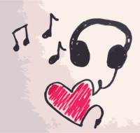 doodle of musical notes and a set of headphones plugged into a heart