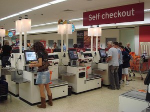 Self-checkout in use at a store