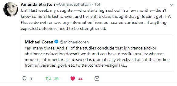 Tweet from Amanda Stratton mentions how her teen daughter didn't know you could get some STIs that stay with you for life. Michael Coren agrees with her and says a lack of information never works