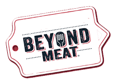 Beyond Meat logo is the words in bold black with a red outline and a fork in the O