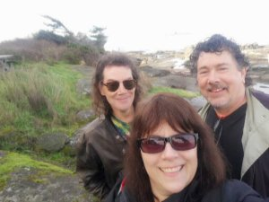 Me, Derek and brother Dave in a selfie on the shore of the island