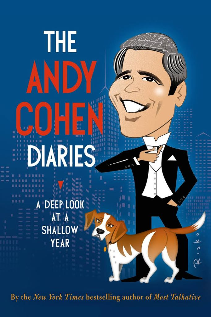 Cover of Cohen's book is bright blue with white and red lettering and a caricature of the author.
