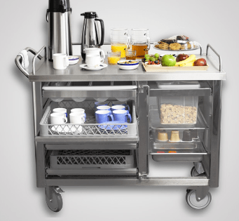 hospital food and beverage cart in stainless steel