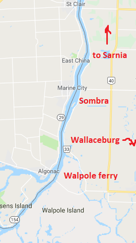 Map showing Walpole island at the bottom - south - end; Wallaceburg is southeast, Sombra is north of Walpole and an arrow shows that Sarnia is north, although not seen on the map