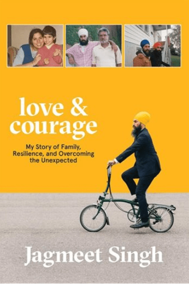 cover of Jagmeet Singh's book features a band of yellow in which he is riding a bike wearing a grey suit and a yellow turban