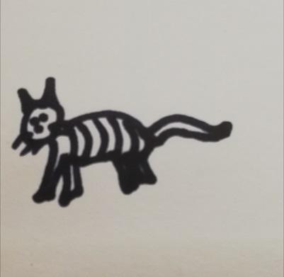 Poorly drawn striped cat in black ink