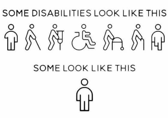 black outlines of people with various disabilities: walking with a cane, ina wheelchair, etc. Above them it reads: some disabilities look like this. Below them it reads, some look like this and the drawing is of a man just standing there.