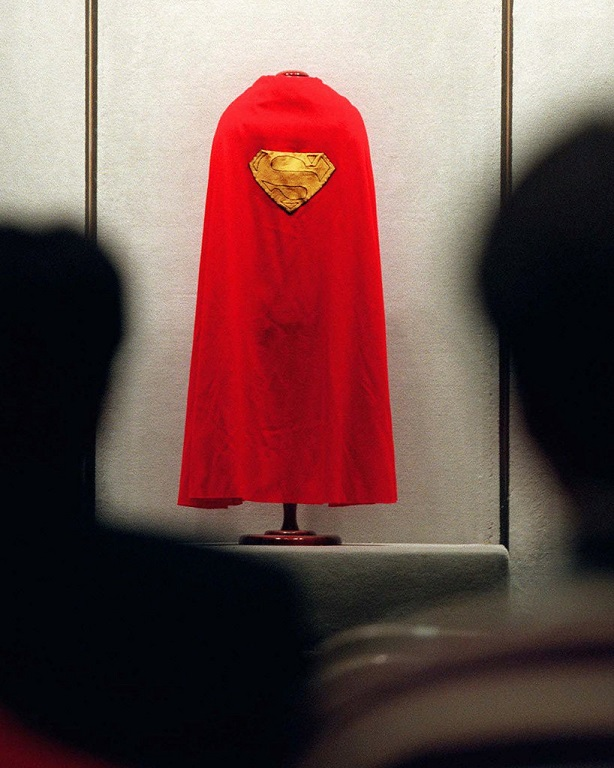 The Superman cape worn by Christopher Reeve on a stand at Sotheby's auction house after the death of Christopher Reeve