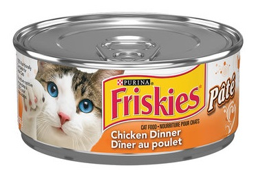 A can of Friskies Chicken Dinner pate.