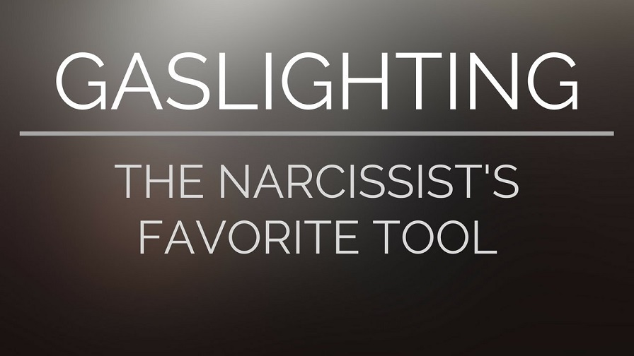 White lettering on grey background reads: Gaslighting, the narcissist's favorite tool