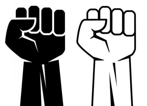 A black fist beside a white fist, line drawings