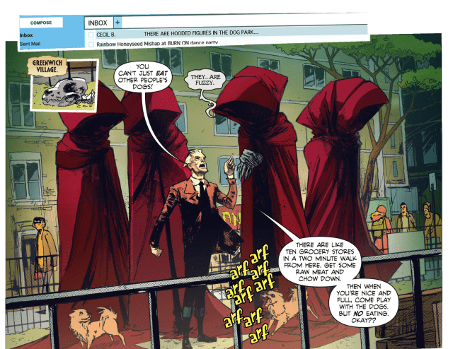 Panel from Constantine the hellblazer where there is a welcome to night vale reference. An email preview is shown from a Cecil B. John is shouting at tall hooded figures not to eat dogs. Do not go into the dog park. Do not look at the dog park.
