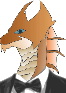 Draconic options in formal wear are a must. This is Dale Merriwether, the brass dragon, in his tuxedo.