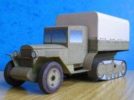 Papercraft imprimible y recortable del camión semioruga soviético ZIR-42. Manualidades a Raudales.