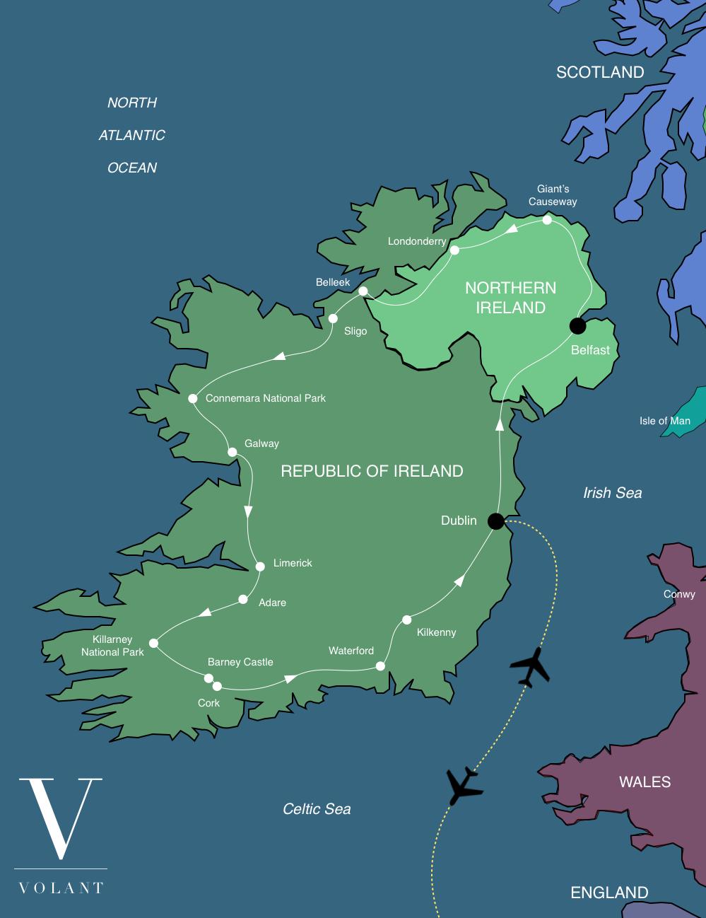 Best of Ireland Tour Map | Volant