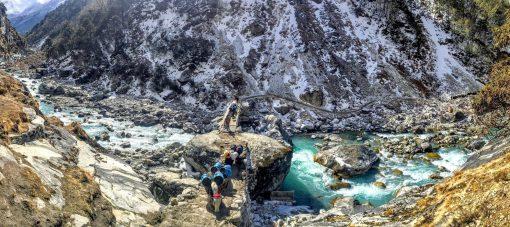 Yaks crossing river - EBC Trek, Nepal