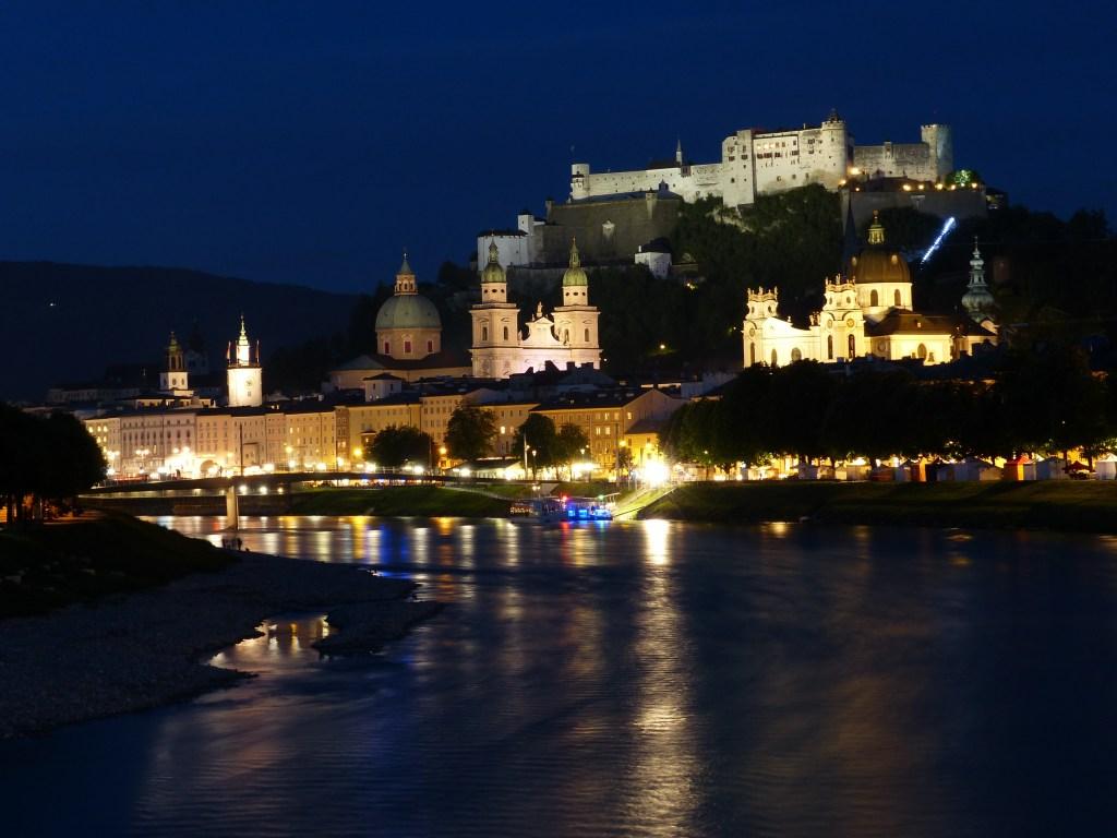 Salzach River, Castle, Night, Salzburg, Austria
