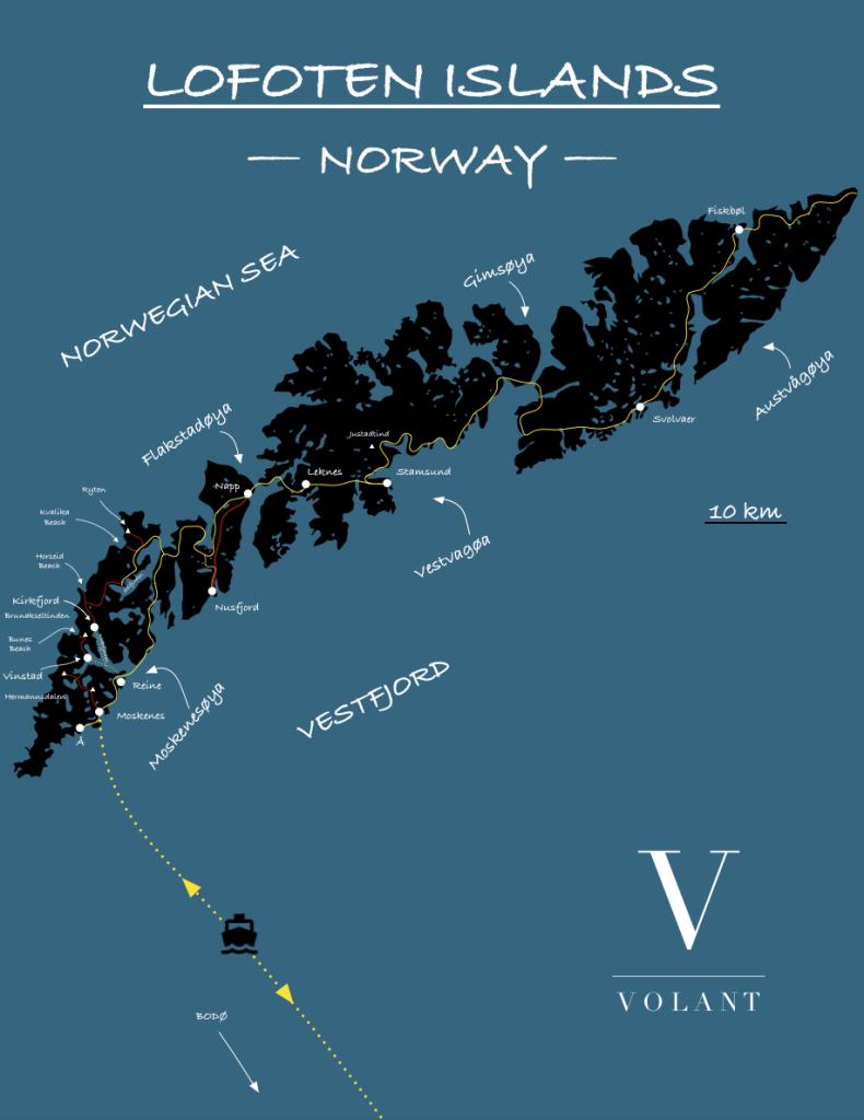Lofoten Islands, Norway - Trekking Map | Volant Travel