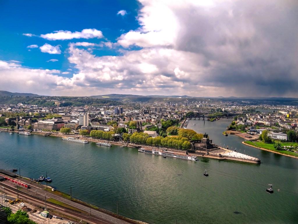 Koblenz from the Ehrenbreitstein Fortress, Koblenz, Rhine Valley, Germany