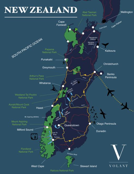 South Island, New Zealnd Tour Map | Volant Travel