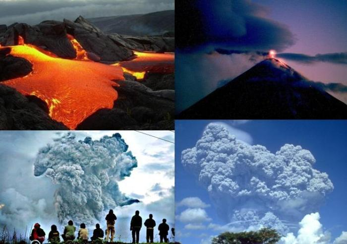 The four main types of volcanic eruptions from left to right, top to bottom: - Effusive Hawaiian eruption, lava flows from in rivers from a vent (uncredited image) - Effusive-explosive Strombolian eruption, Klyuchevskoy, Kamchatka (KVERT webcam) - Explosive Vulcanian eruption, moderate eruption column accompanied by pyroclastic flows, Gunung Sinabung, Indonesia (FT Photo Diary, Jamie Han) - Explosive Plinian eruption, eruption column often greater then 15 km, stratospheric. Mount Pinatubo, Philippines 1991 (WikiMedia)