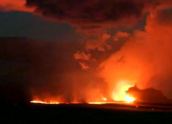 Mila Webcam image of the Holuhraun eruption taken in the evening on September 15th 2014.