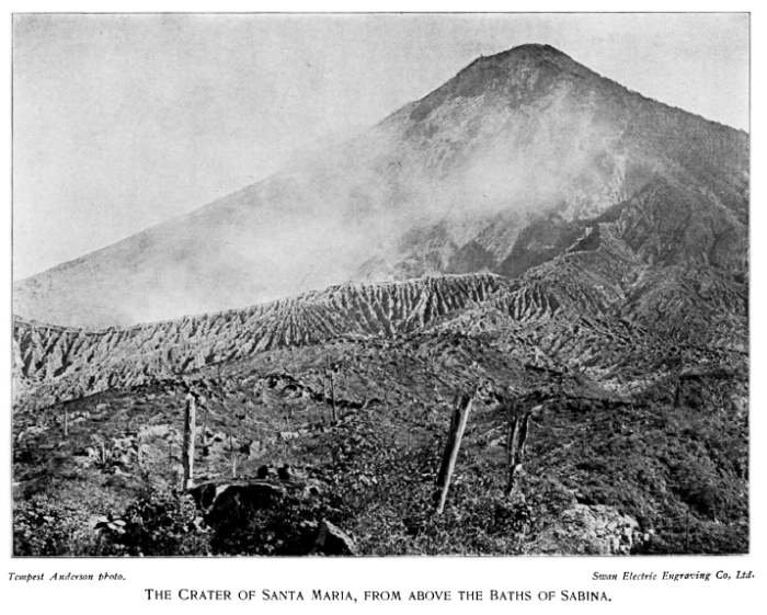 Photograph taken some time after the October 25th 1902 VEI 6 eruption of Santa Maria, Guatemala. The eruption killed more than 5,000 people as well as causing an economic disaster by destroying most of the country's coffee crop. The eruption column reached 28 km. Note absence of the Santiaguito cone which has subsequently grown where the post-eruption crater used to be.