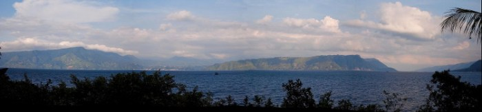 Panorama of Lake Toba (https://en.wikipedia.org/wiki/Lake_Toba)