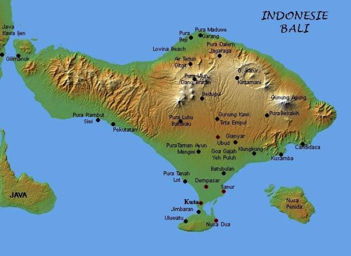 The main tourist locations are concentrated to the South; Sanur on the east coast which once was the only tourist location, Kuta with its beach and close to the Ngurah Rai International Airport, Ubud in the centre of the island and the newer development Nusa Dua and Pecatu. Kuta, the main tourist location, lies 55 km from the centre of the Buyan-Bratan volcanic complex, 61 km from the centre of the Batur Caldera and 60 km from the peak of the 3,031 m high Gunung Agung, The town of Ubud is basically at half that distance while Dempasar, the capital with over 800,000 inhabitants, is within 50 km of all three.