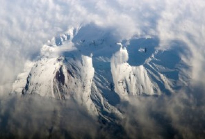 The bewildering array of flank collapses displayed by Avachinsky Volcano, Kamchatka, Russia. The greatest of those was about 20 – 30 km3 in size and occurred about 30-40 kA BP. (earthobservatory.nasa.gov)