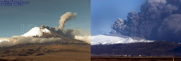 Cotopaxi August 2015 and Eyjafjallajökull April 2010. If we can make allowances for the great difference in size between the two volcanoes, there are some striking similarities on offer here. (Composite of IG-EPN webcam capture and unknown)