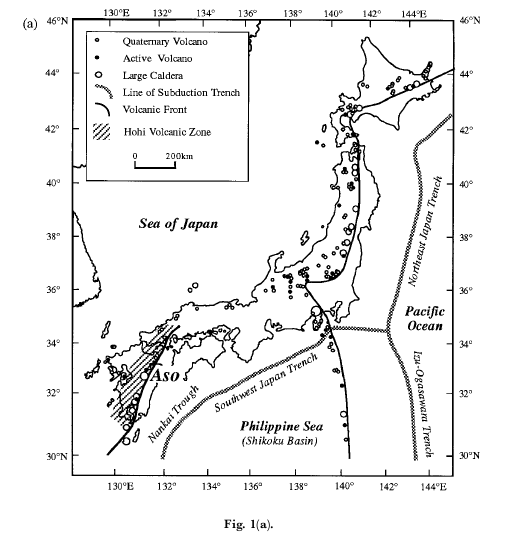 Geological setting of Japan with the location of Aso highlighted. (Hunter 1988)