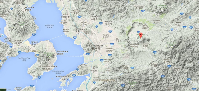 The terrain around Mt Aso is open only to the west. Should the potential VEI 7.5 eruption materialise, most of Kumamoto Prefecture (pop 1.8 million) would be covered by ignimbrites and be a non-survival zone. Nagasaki Prefecture 80 km to the west (pop. 1.4 million) would be at very great risk as well as Saga Prefecture (pop 0.85 million) to the northwest across the Ariake Sea.