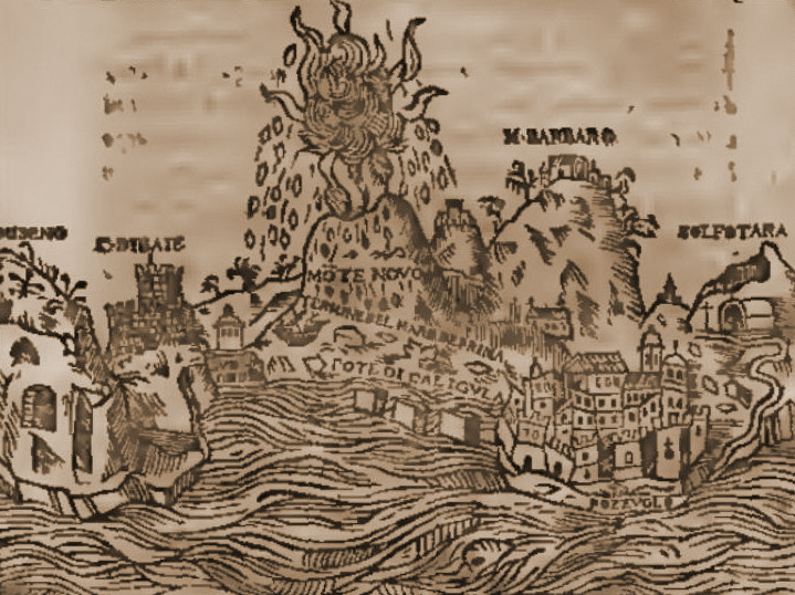 """A contemporary rendering, well almost, from 1657 of Campi Flegrei and the 1538 Monte Nuovo eruption. Even though the rendering is simplistic, details such as the flames allows us to guess that it may have been a """"red eruption"""" and the rain of stones on all sides that it was Strombolian in nature. (Theatrum illustriorum Italiae urbium tabulae cum apendice celebriorum in Maris Mediterranei insulis civitatum, Amsterdam)"""