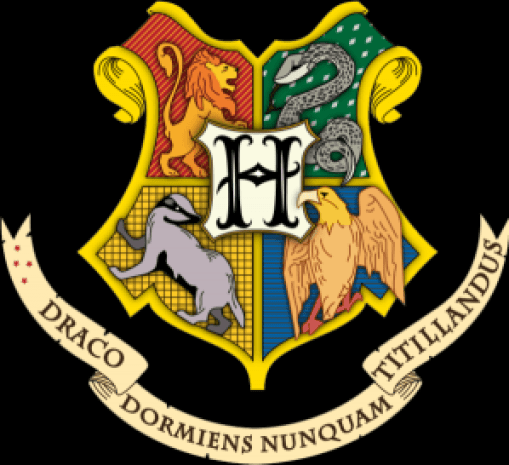 "The coat of arms of Hogwarts School of Witchcraft and Wizardry. Contains the rather apt motto ""Draco Dormiens Nunquam Titillandus"" or ""Never Tickle a Sleeping Dragon"" (Wikimedia Commons)"