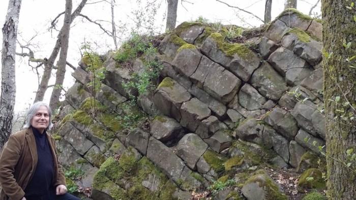 The 110-million year old pile of columnar basalt at Rallate. (Photo: Shérine France)