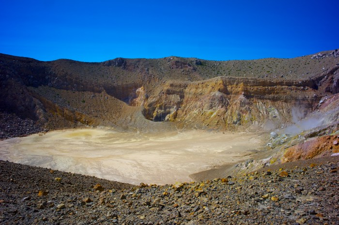The inside of the crater after the 2008 eruption. Notice fumarolic activity and the lack of a crater lake.