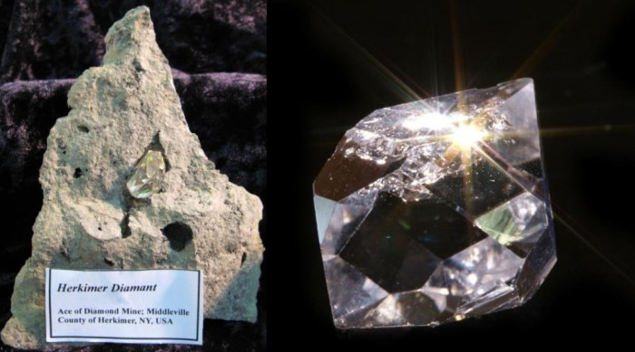 "As their appearance may hint at, it is easy for the inexperienced to confuse the doubly terminated quartz crystal with only a short, blocky crystal prism (the pointy ends are called pyramids) for diamond and the dolomite matrix, ""mother rock"", with kimberlite. The so-called ""Herkimer Diamond"" is a collectible in its own right as not only are the euhedral (well-formed), doubly-terminated crystals aesthetically pleasing. They often contain interesting and readily visible two-phase inclusions consisting of water and gas bubbles. (WikiMedia Commons)"