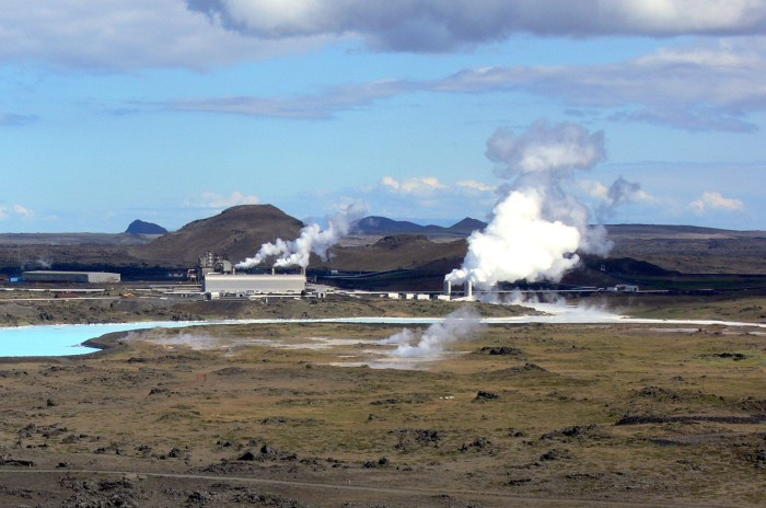 Reykjanes Power Station. In front is the Gunnuhver geothermal field. The pock marks are from natural blowouts.