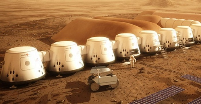 Fig 2. Man's first home on Mars. Artists concept of the initial settlement of the Mars One project (Mars One)